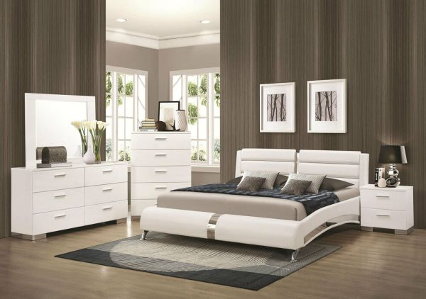 white king bedroom furniture sets STANTON-Ultra Modern 5pcs Glossy White King Size Platform Bedroom Set Furniture | eBay