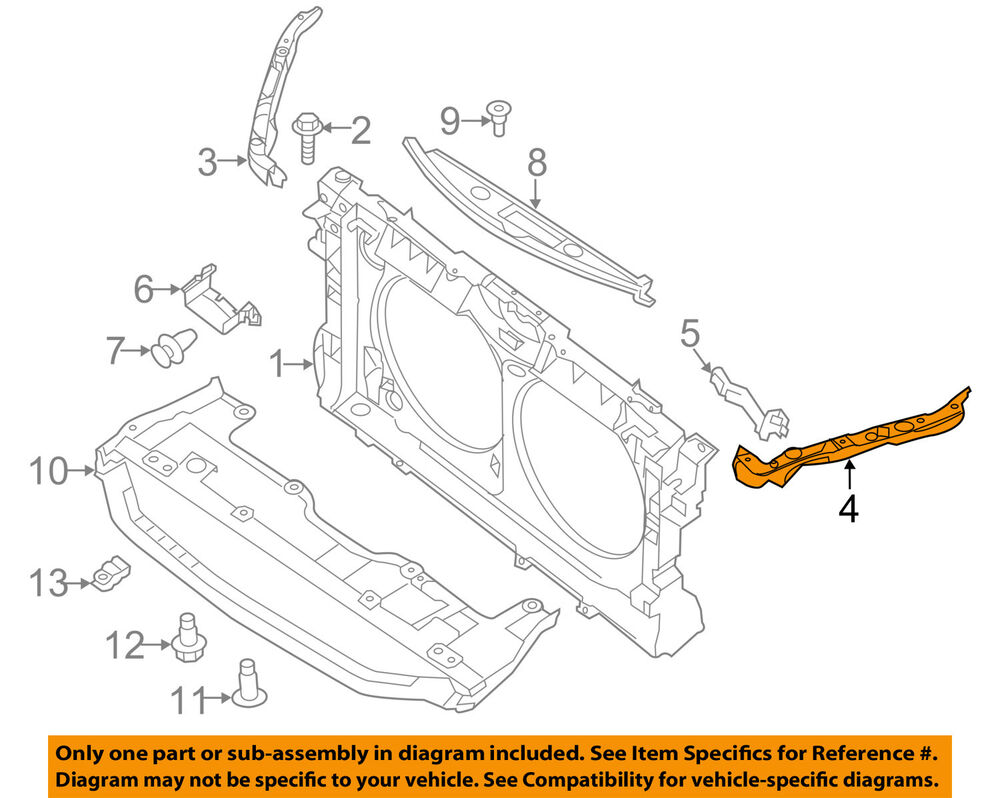hight resolution of details about nissan oem 13 16 altima radiator core support upper left f25133tama