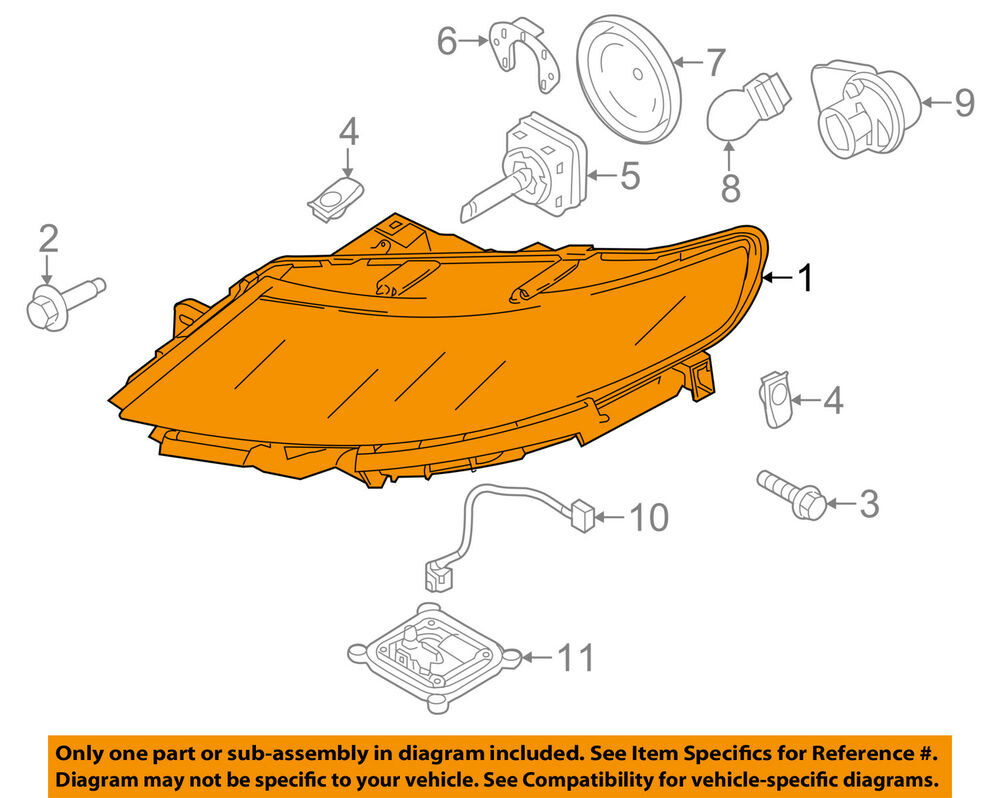 hight resolution of details about lincoln ford oem 09 12 mks headlight assembly aa5z13008n
