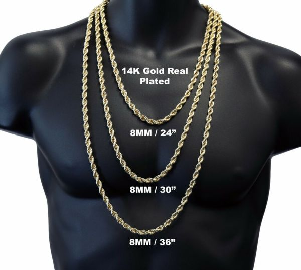 14k Gold Plated High Fashion 8mm Thick Heavy Rope Chain Necklace 24 30 36 Inches
