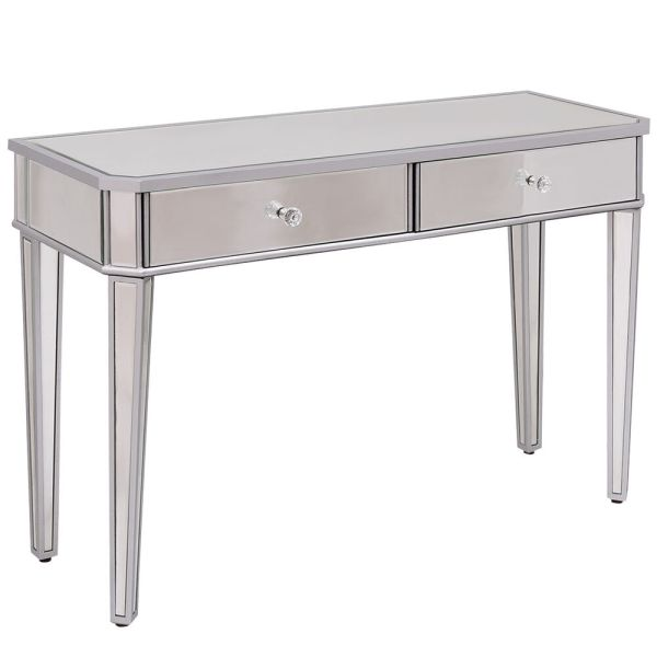 2 Drawer Mirrored Vanity Make- Desk Console Dressing