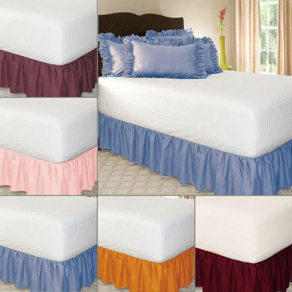 Elastic Bed Skirt Solid Color Hollow Ruffle Cover Twin Full Queen King Size