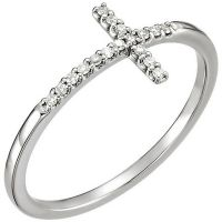14k White Gold Sideways Diamond Cross Ring