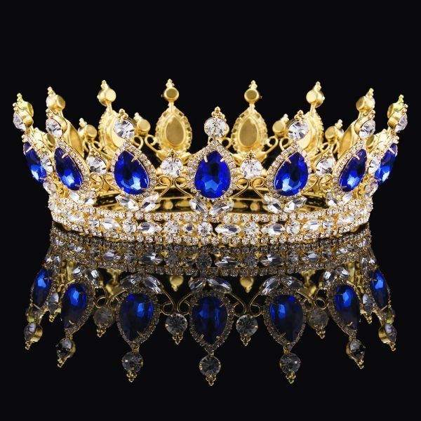 Luxury Gold King Queen Crystal Crown Royal Blue Sapphire