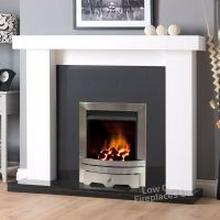 GAS WHITE SURROUND BLACK GRANITE MARBLE SILVER FIRE