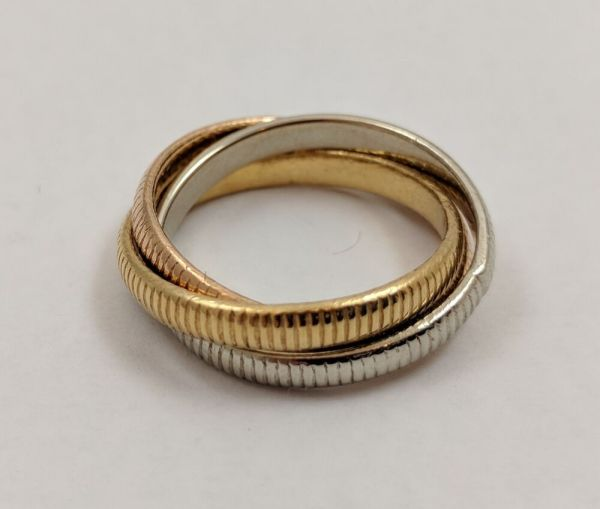 Cartier 18k Tri Color Gold Trinity Rolling Ribbed Ring