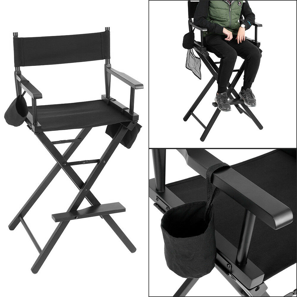 Black Directors Chair New Professional Makeup Artist Directors Chair Wood Light Weight Foldable Black 663862764567 Ebay