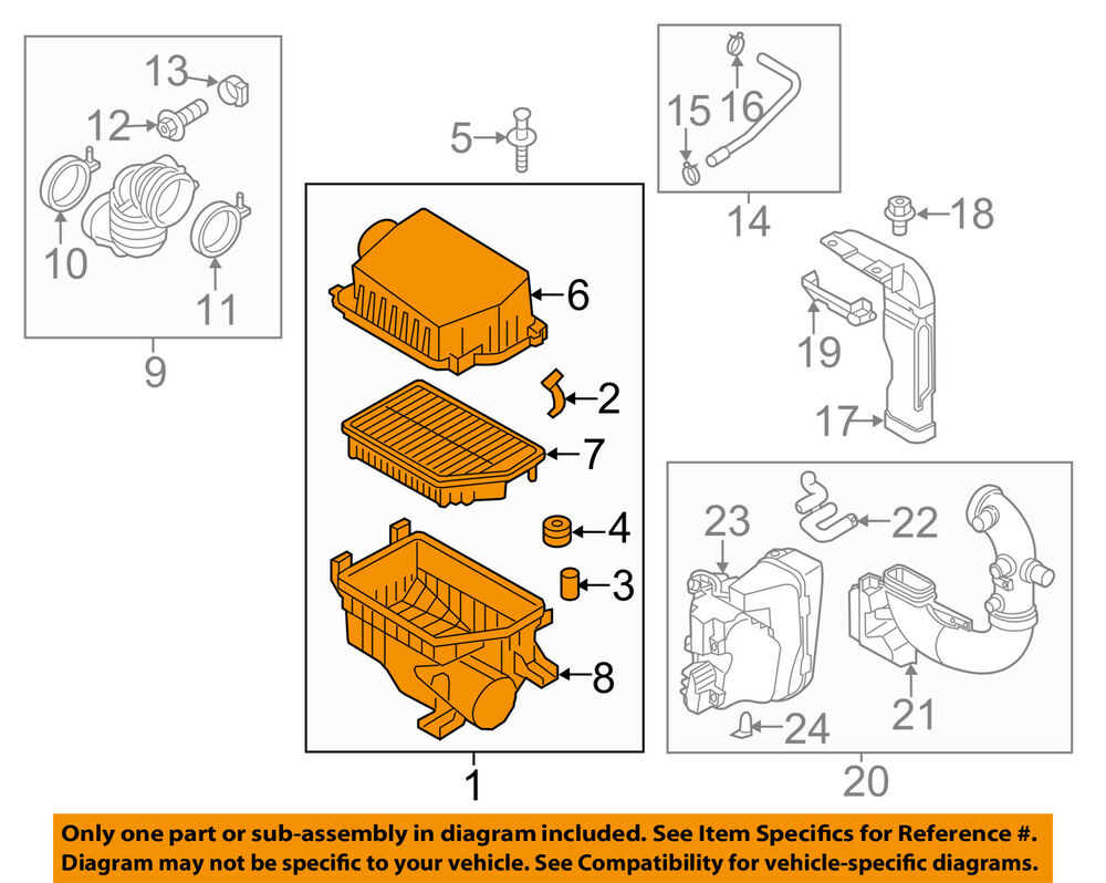 hight resolution of details about kia oem 12 15 rio air cleaner intake filter box housing 281101w100