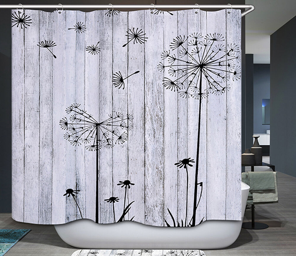 Barn Board Thistle Shower Curtain Rustic Black White Gray