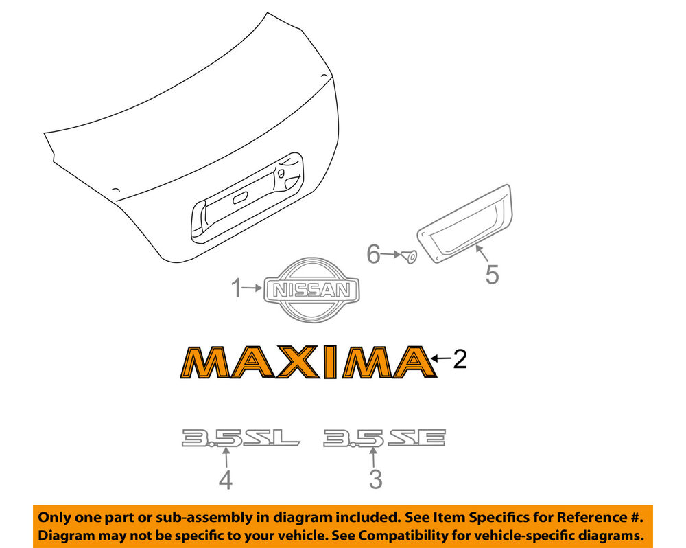 hight resolution of details about nissan oem 04 08 maxima trunk lid emblem badge nameplate 848947y000