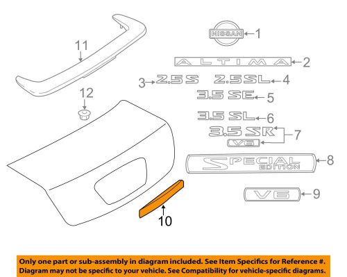small resolution of details about nissan oem 10 12 altima trunk lid finish plate 84810zx00a