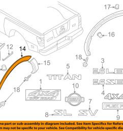 details about nissan oem 08 15 titan bed wheel well fender flare molding left 93829zr30b [ 1000 x 798 Pixel ]