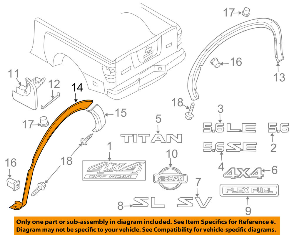 hight resolution of details about nissan oem 08 15 titan bed wheel well fender flare molding left 93829zr30b