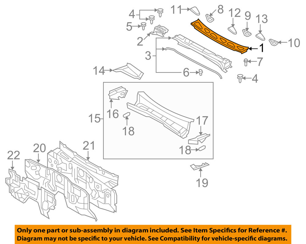 hight resolution of details about toyota oem 07 14 fj cruiser cowl panel windshield wiper motor cover 5570935010
