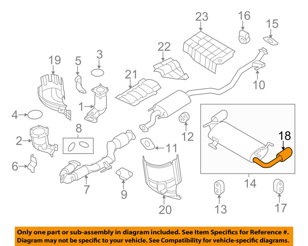 medium resolution of details about nissan oem 10 14 murano 3 5l v6 exhaust system tailpipe extension 200801aa2a