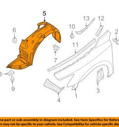details about nissan oem 09 14 maxima front fender liner splash shield right 63842zx70a [ 1000 x 798 Pixel ]