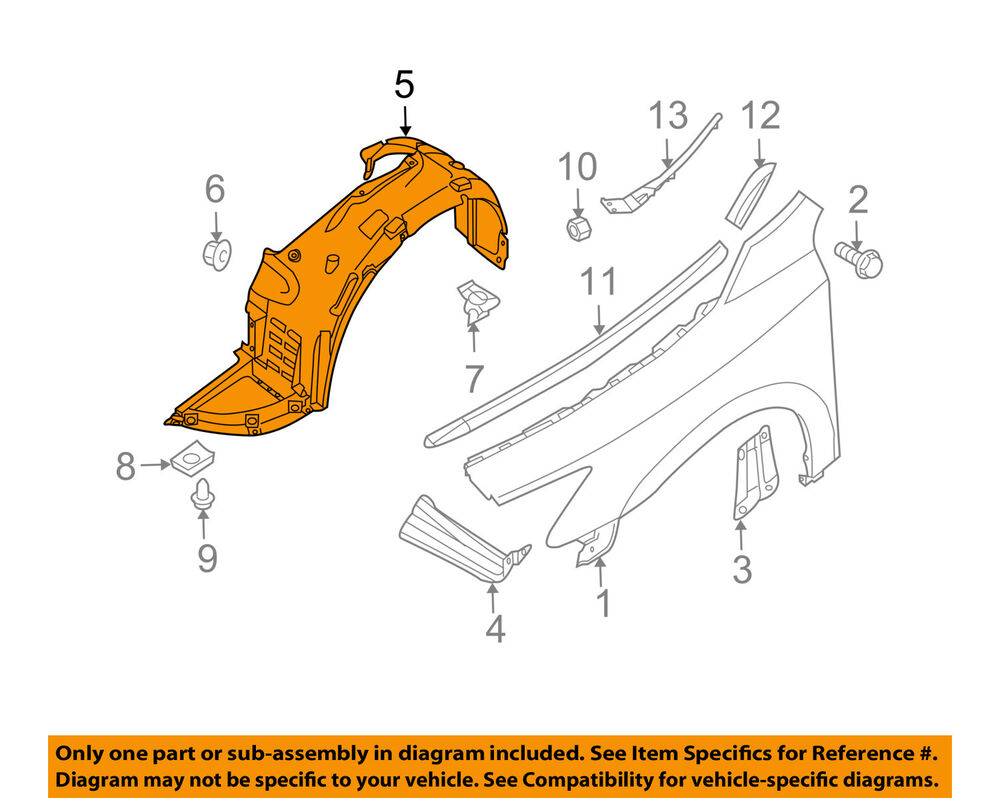 hight resolution of details about nissan oem 09 14 maxima front fender liner splash shield right 63842zx70a