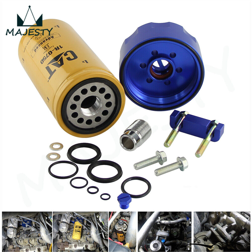 medium resolution of diesel cat fuel filter adapter and seal kit for 01 16 gm chevy duramax 6 6l blue 843401125558 ebay