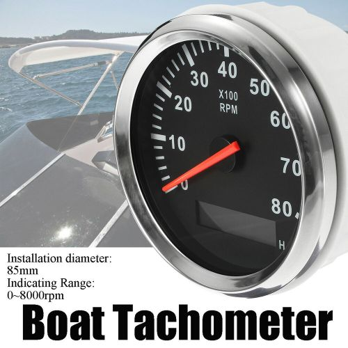 small resolution of details about au marine tachometer boat tacho meter gauge lcd hourmeter 12v 24v 8000 rpm 85mm