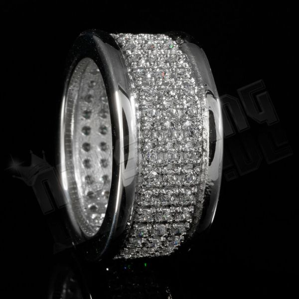 18k Ip White Gold Stainless Steel Simulated Lab Diamond