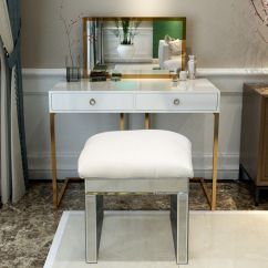 Bedroom Dressing Table Chair Summer Infant Wooden High Silver Stool Mirror Faux Leather Padded Makeup Details About Seat