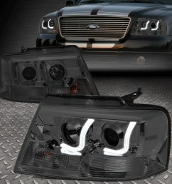details about dual led drl for 04 08 ford f150 pair smoked lens projector headlight lamps [ 1000 x 1000 Pixel ]