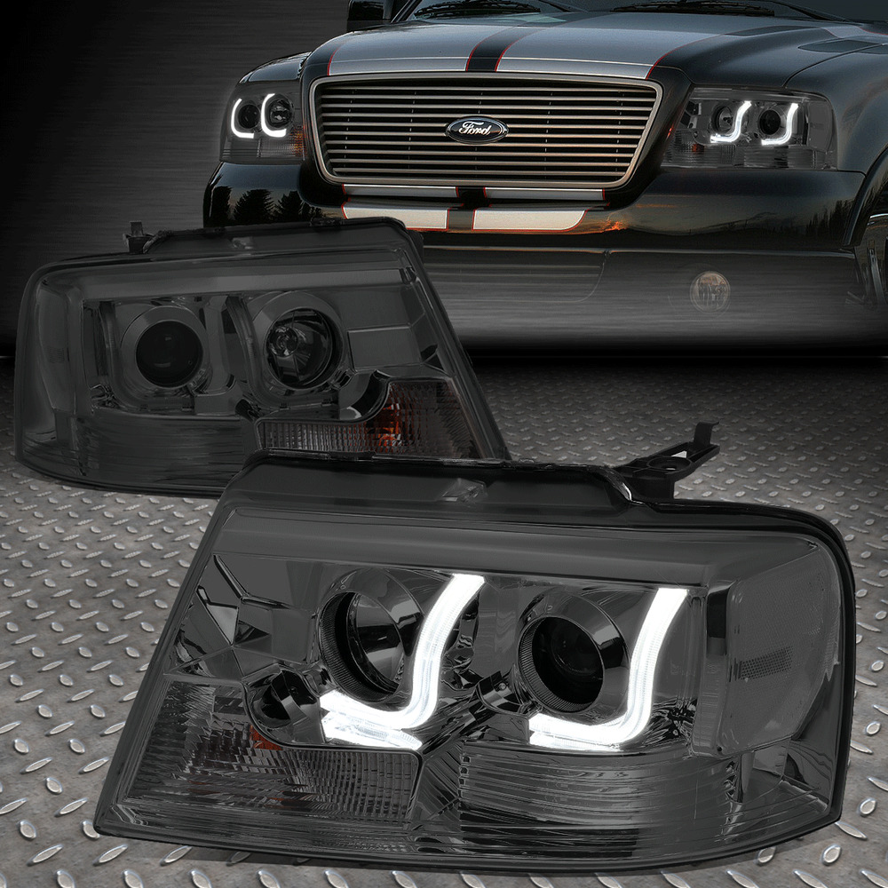 hight resolution of details about dual led drl for 04 08 ford f150 pair smoked lens projector headlight lamps