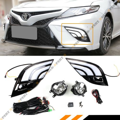 small resolution of details about for 18 19 toyota camry se xse white amber drl fog light cover led fog lens kit