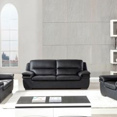 Genuine Leather Sofa And Loveseat Chair Company Belfast 3 Pc Black Living Room Set Ebay Details About