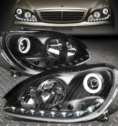details about led drl for 2000 2006 mercedes s class w220 black housing projector headlight [ 1000 x 1000 Pixel ]
