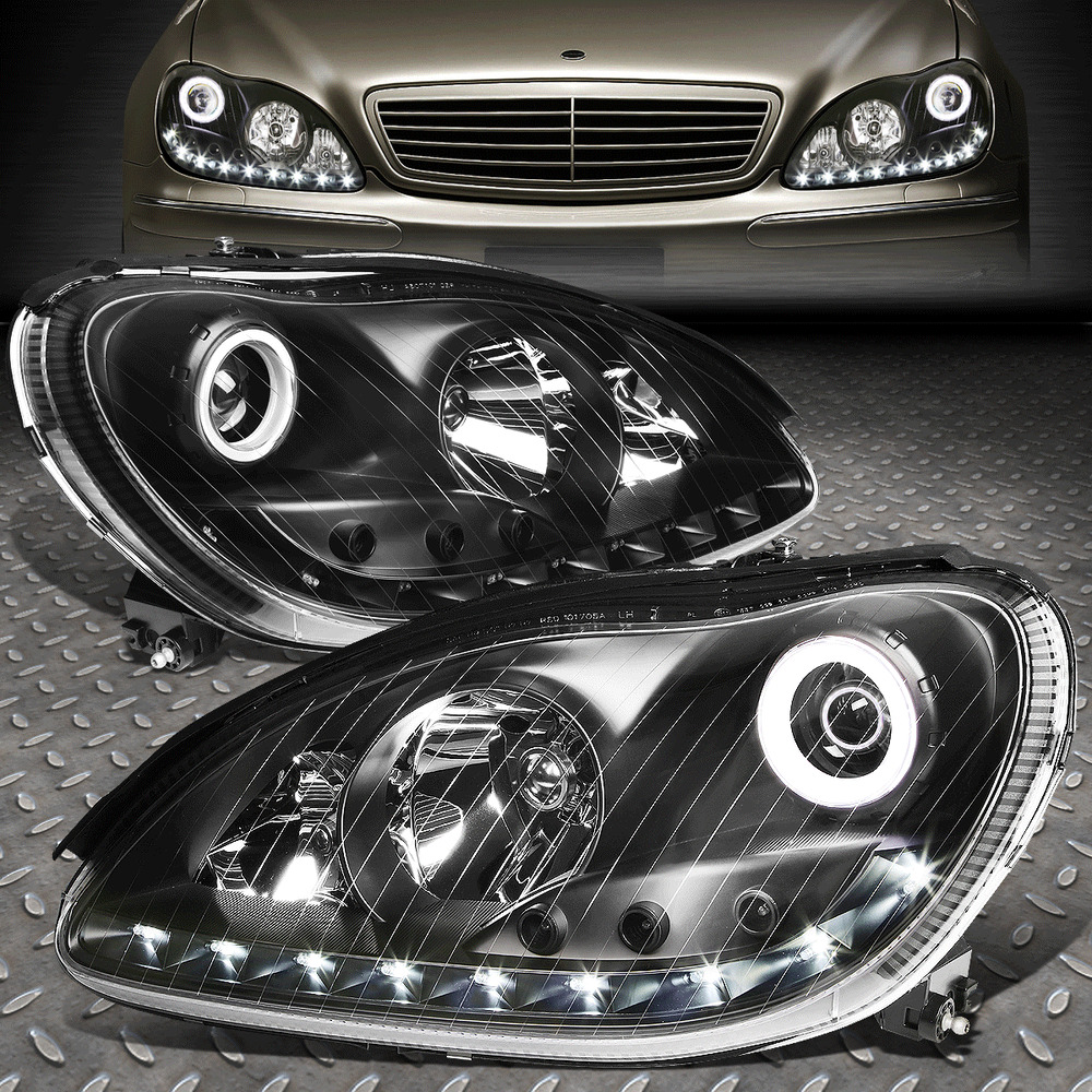 medium resolution of details about led drl for 2000 2006 mercedes s class w220 black housing projector headlight