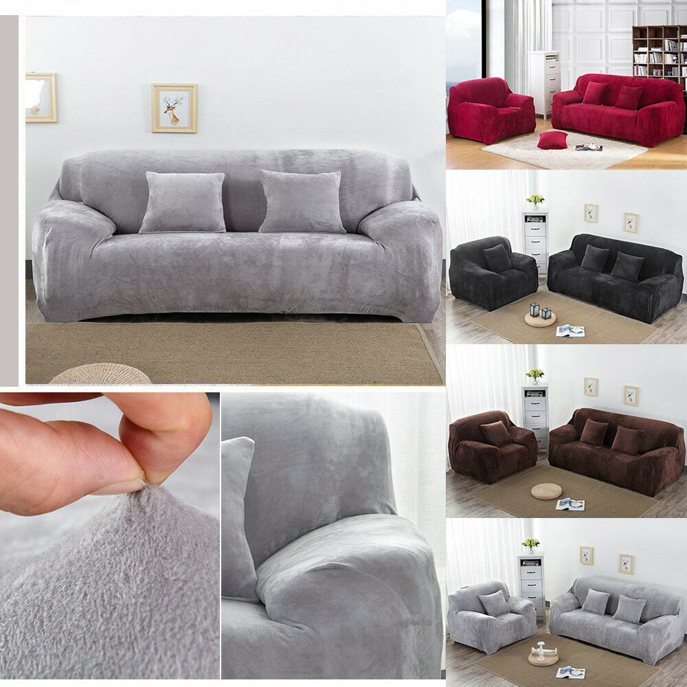 Easy Fit Colorful Thick Plush Velvet Couch Cover Stretch