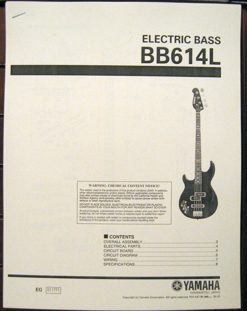 medium resolution of yamaha bb614l left hand 4 string electric bass guitar service manual parts list ebay