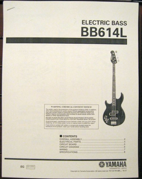 small resolution of yamaha bb614l left hand 4 string electric bass guitar service manual parts list ebay