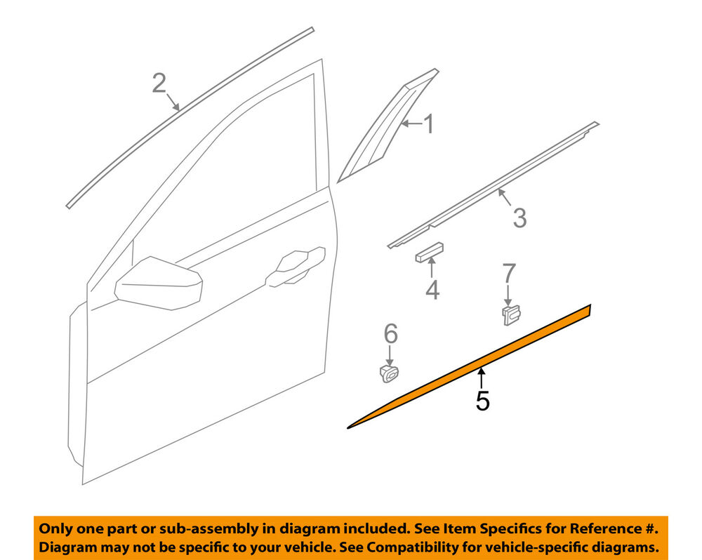 hight resolution of details about hyundai oem 12 14 azera front door lower molding trim left 877113v000