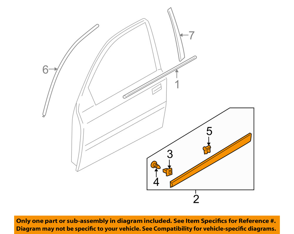 medium resolution of details about kia oem 06 09 rio front door body side molding left 877211g010