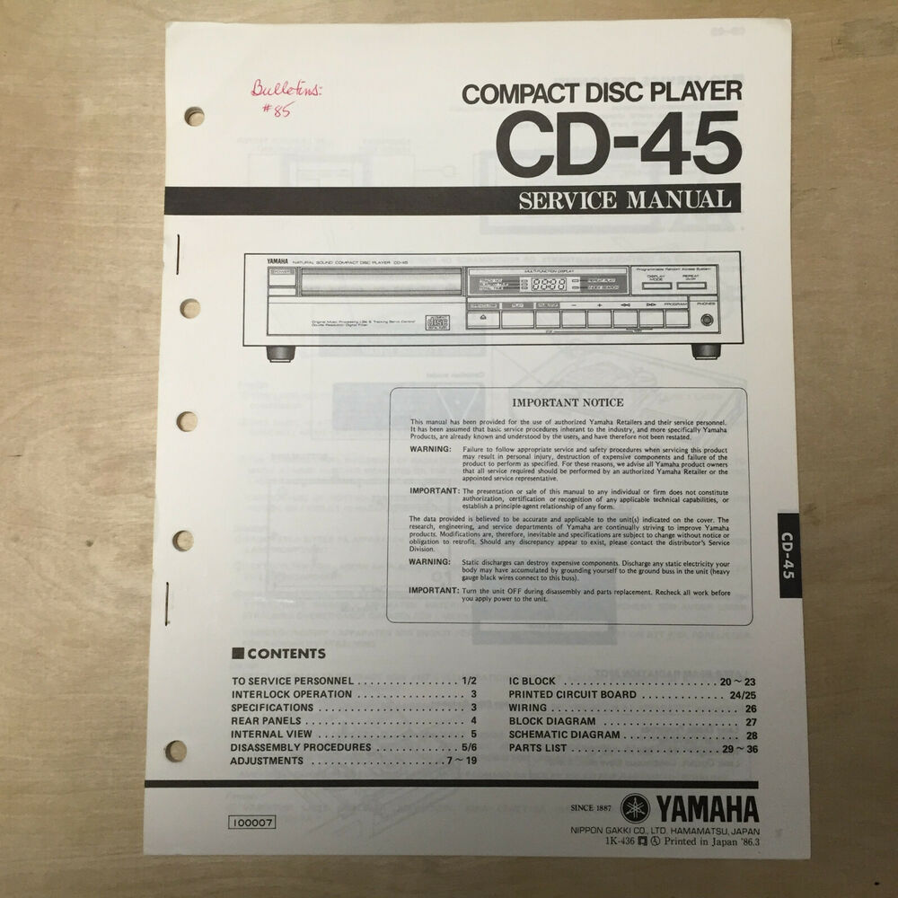 hight resolution of details about yamaha service manual for the cd 45 cd compact disc player repair