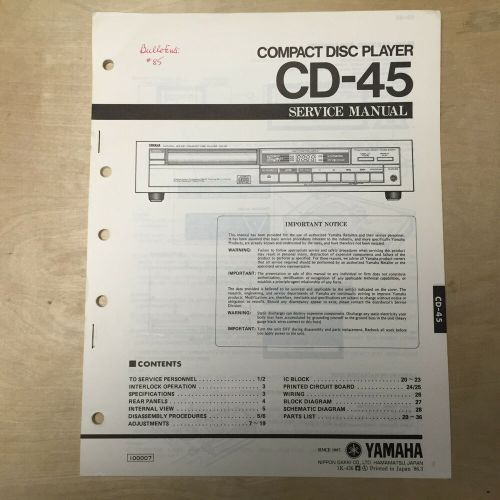 small resolution of details about yamaha service manual for the cd 45 cd compact disc player repair
