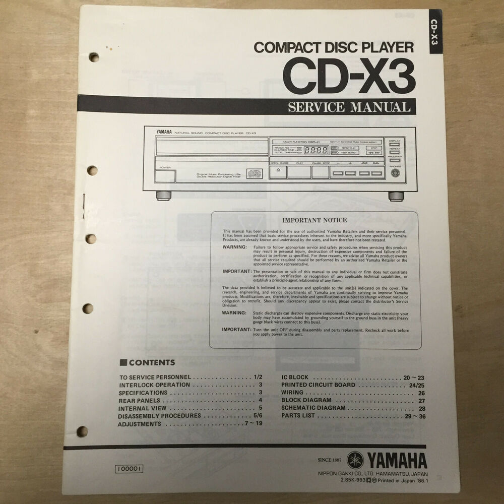 hight resolution of details about original yamaha service manual for the cd x3 cd compact disc player repair