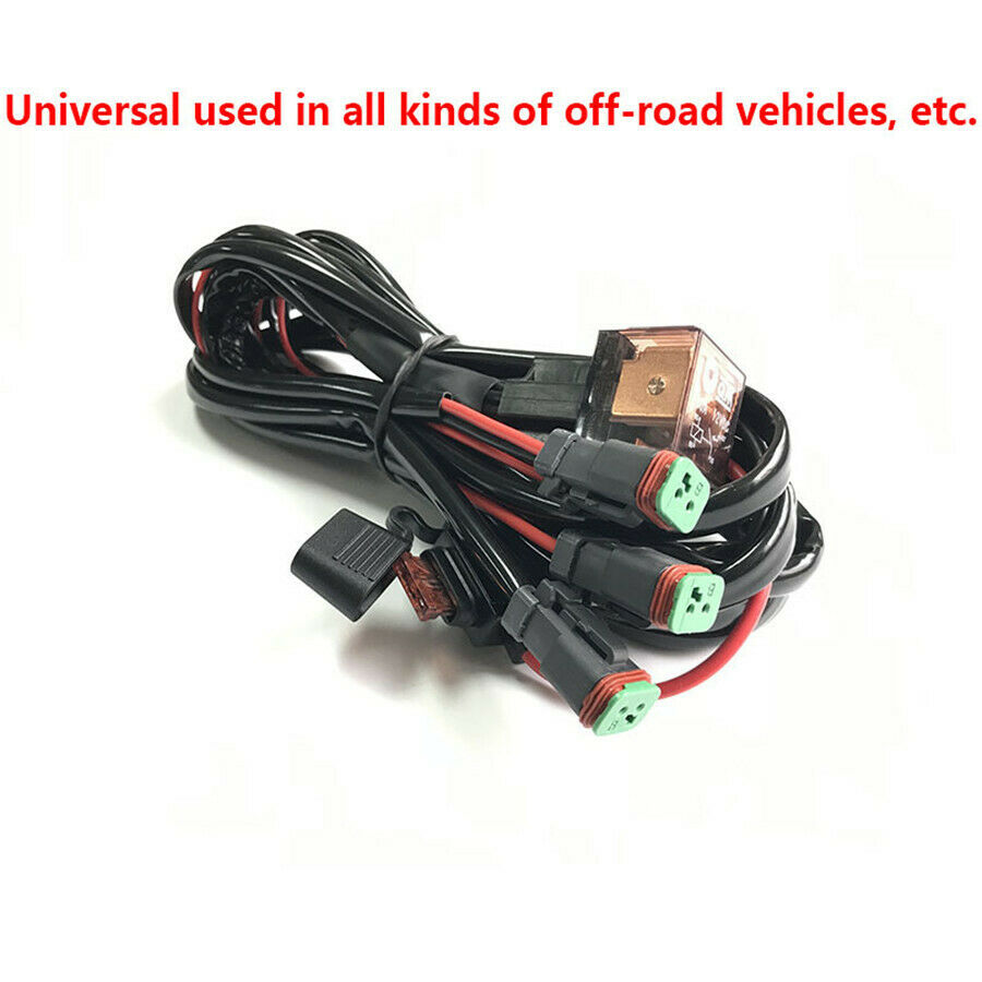 hight resolution of details about universal 12v car high beam led light bar one belt three wiring loom harness set