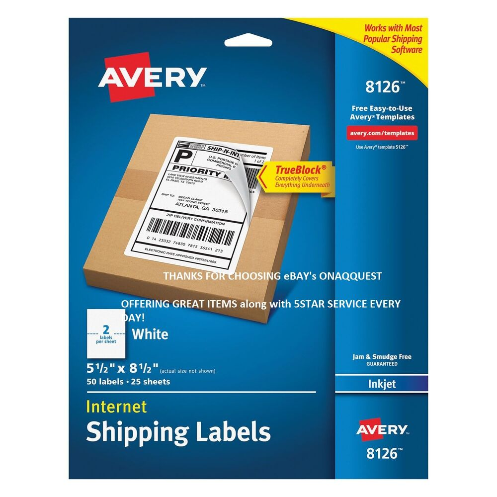 Avery 8126 Inkjet Mailing Shipping Labels Perforated 50pk