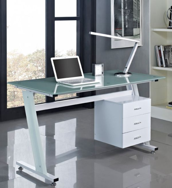 Computer Desk Pc Table Office Furniture Work Station Glass