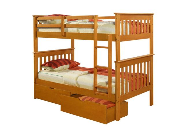 Twin Over Mission Bunk Bed - Honey -kids Furniture