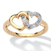 WOMENS 18 K GOLD HEART PROMISE ENGAGEMENT WEDDING DIAMOND