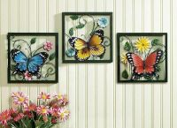 3 Pc Framed Crafted 3D Metal Butterfly In Blossom Flower ...