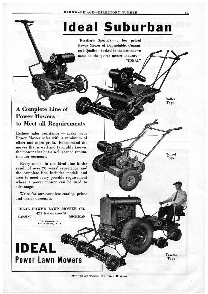 1936 ADVERTISEMENT IDEAL POWER LAWN MOWERS, STEARNS