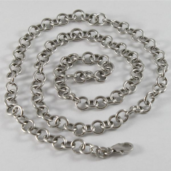 Solid 18k White Gold Chain Necklace With Mesh