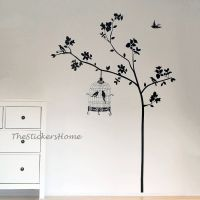 Tree With Bird Cage Wall Art Decal Stickers Vinyl ...