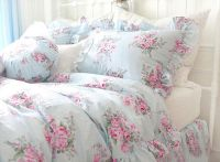 King Queen Full Twin Princess Shabby Floral Chic Blue ...