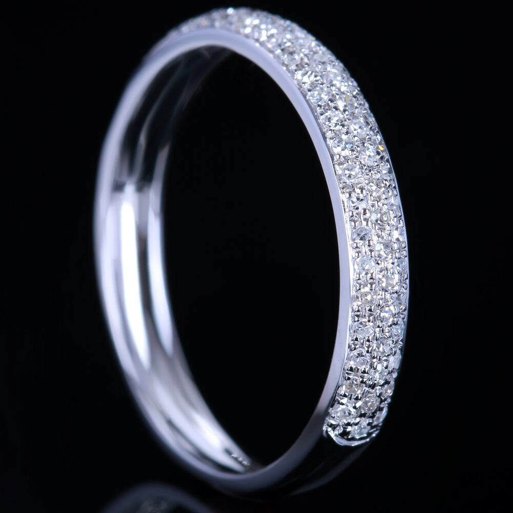 REAL DIAMOND RING SOLID 14K WHITE GOLD PAVE Wedding Band